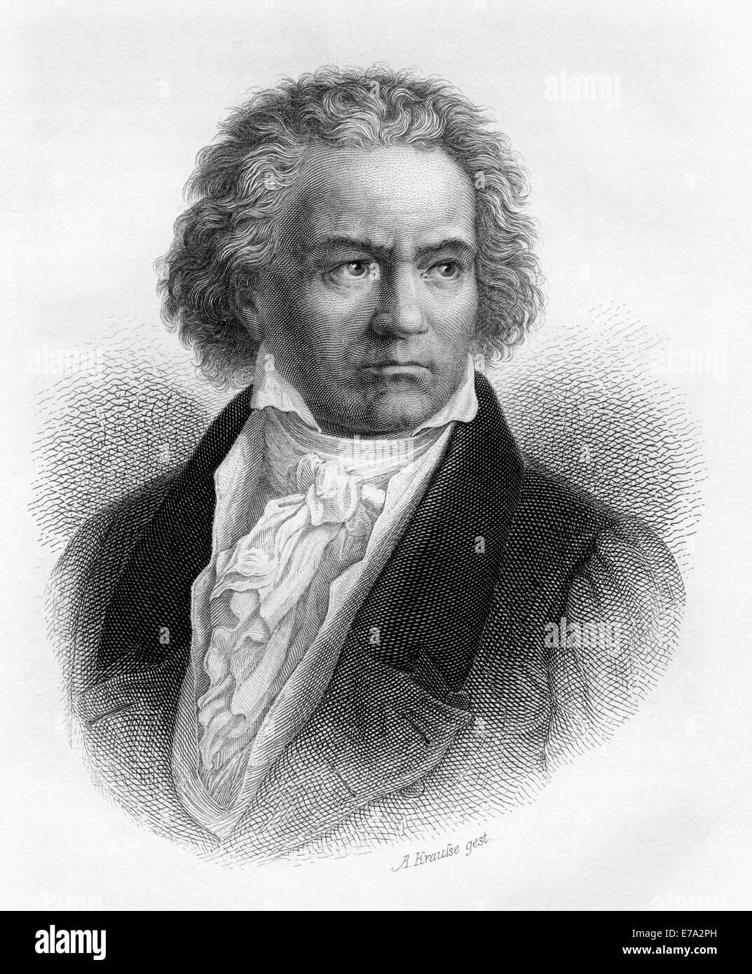Ludwig van Beethoven (1770-1827), German Composer, Engraving, 1873 - Stock Image