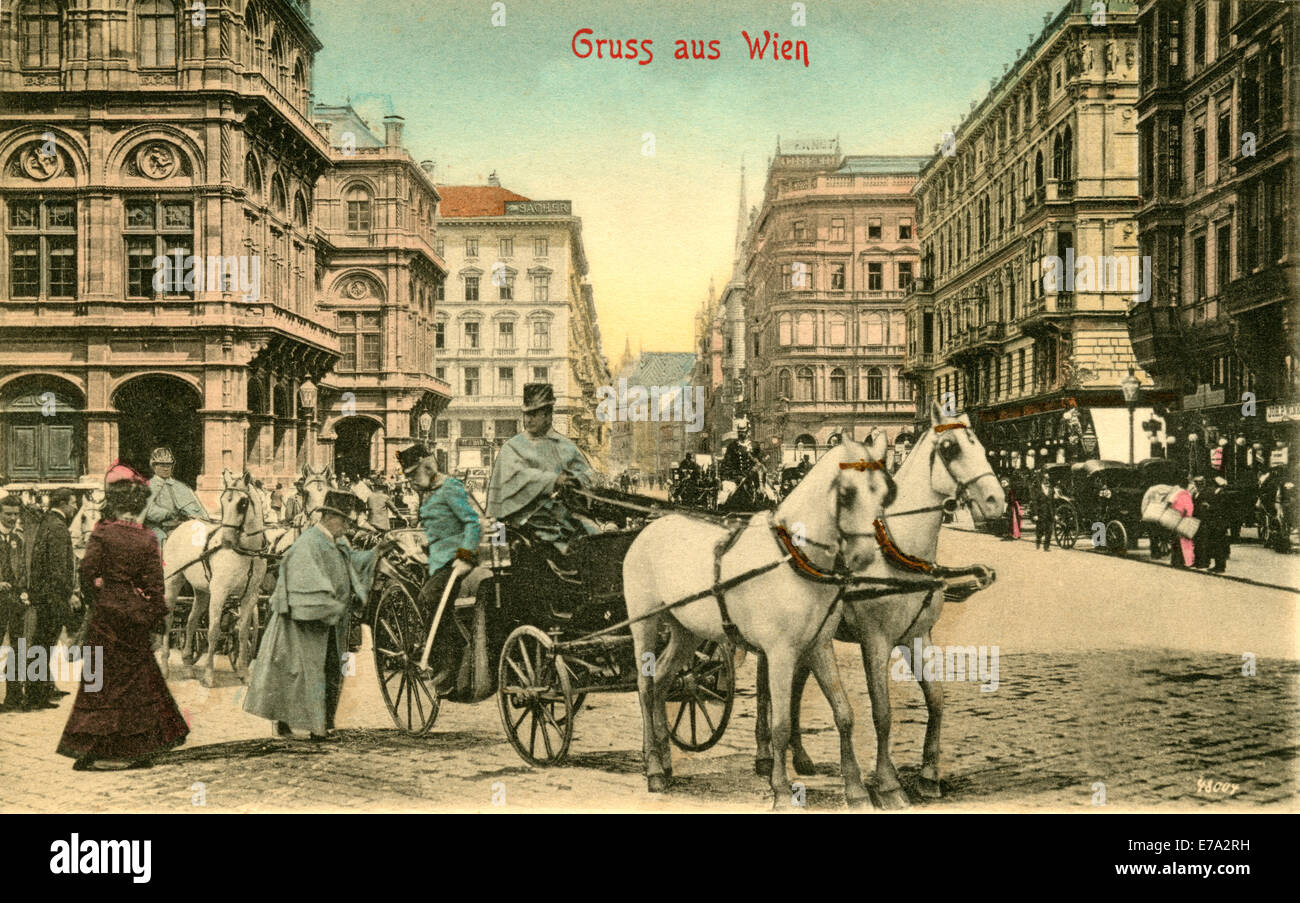 Franz Joseph I,  Arriving at Court Opera House, Greetings from Vienna, Postcard - Stock Image