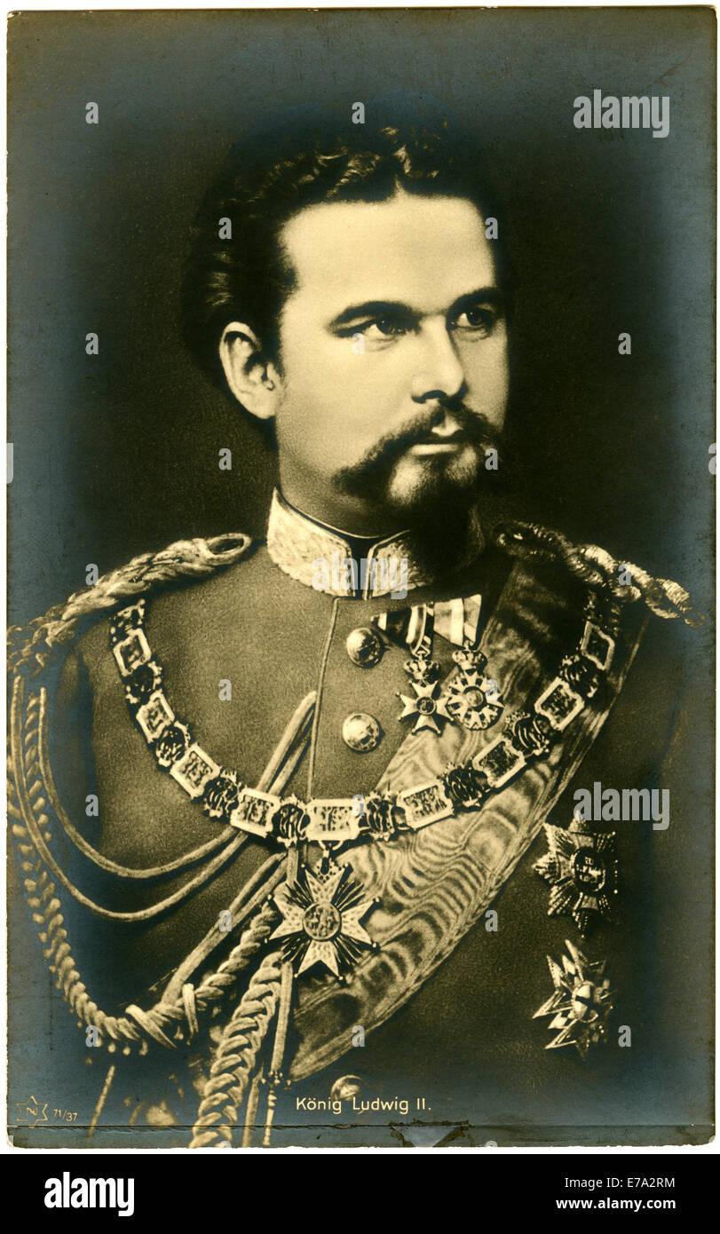 Ludwig II or Ludwig Otto Friedrich Wilhelm (1845-1886), King of Bavaria, Portrait, circa 1880 - Stock Image