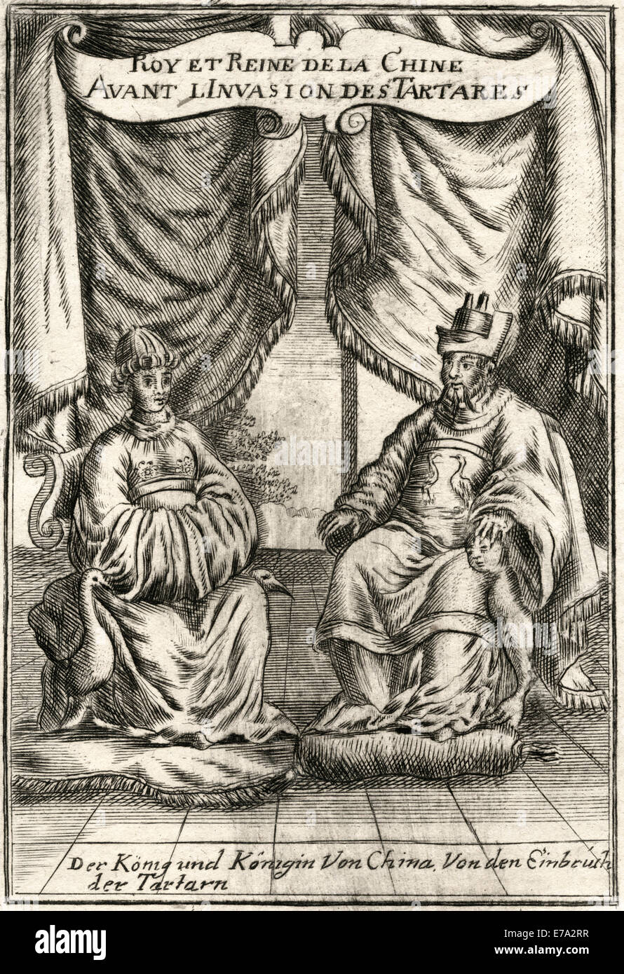 Chongzhen Emperor (1611-1644) 16th and Last Emperor of Ming Dynasty in China, with Empress Zhuang Lie Min, Woodcut, - Stock Image