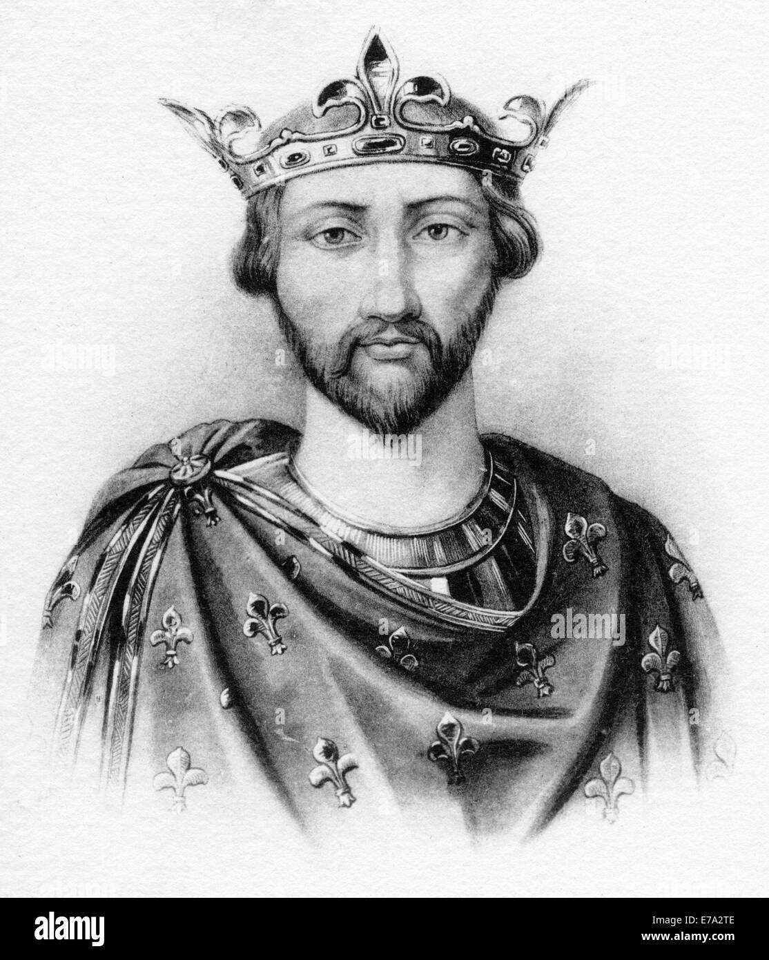 Henry I (1068-1135) King of England, 1100-1135, Portrait with Crown, French Postcard - Stock Image