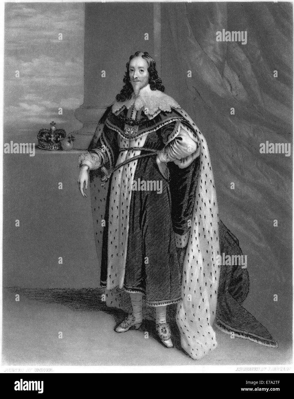 Charles I of England (1600-1649), King of England, Ireland and Scotland 1625-1649, from a Painting by Anthony Van - Stock Image