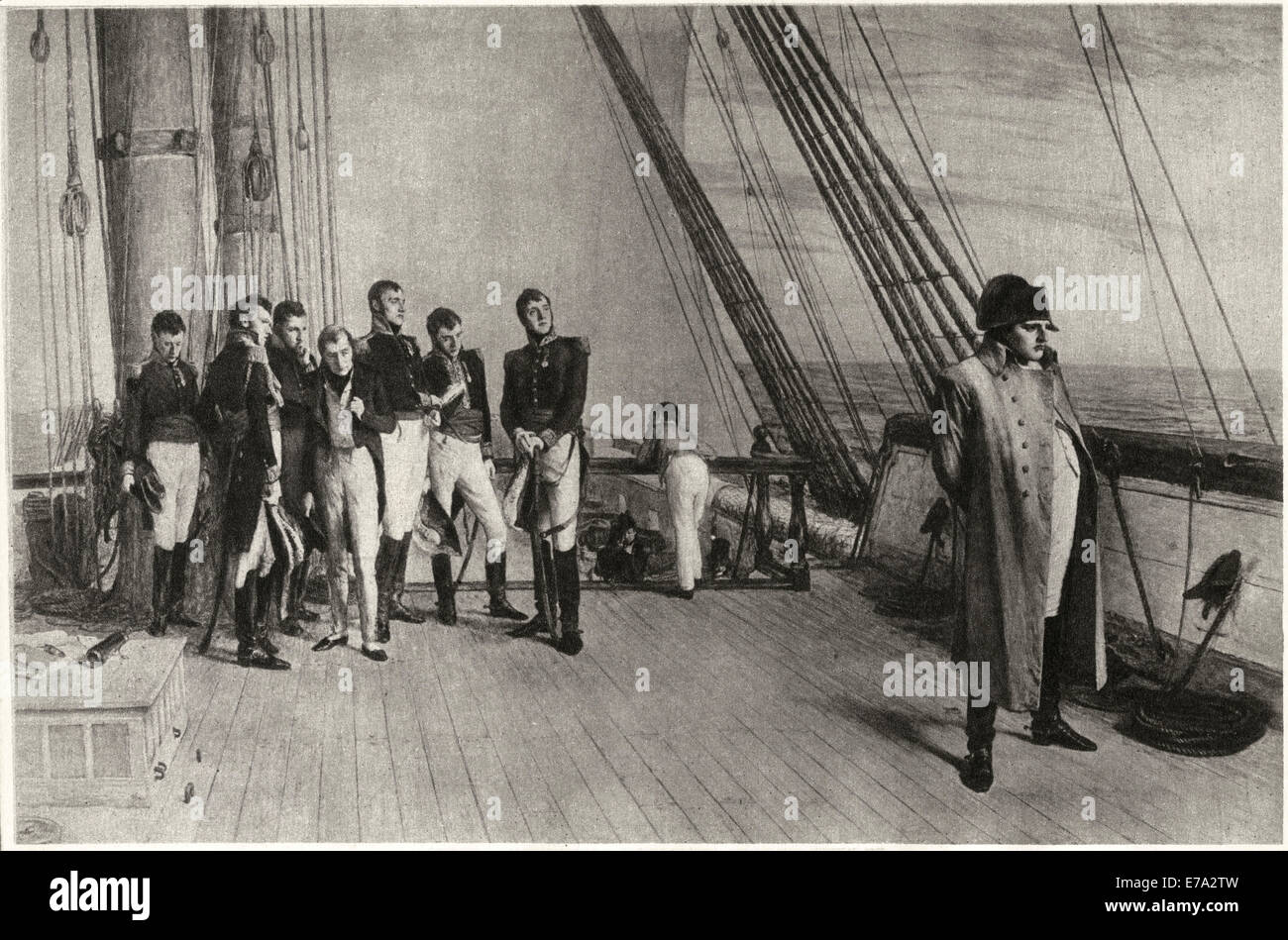 Napoleon on Board the Bellerophon, from the Painting by W. Q. Orchardson, 1880, Intaglio-Gravure print by Mentor - Stock Image