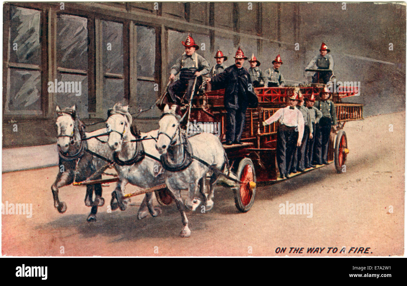Firemen on Horse-Drawn Fire Truck, 'On the Way to a Fire', Chicago, USA, Postcard, circa 1890 - Stock Image
