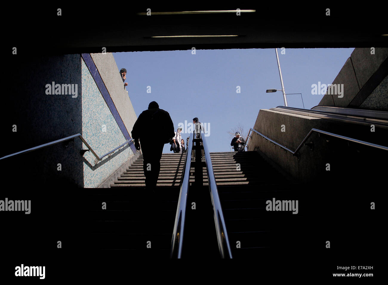 Santiago. 10th Sep, 2014. A man gets out of the Chile Metro Station that was evacuated because of a suspicious object, - Stock Image