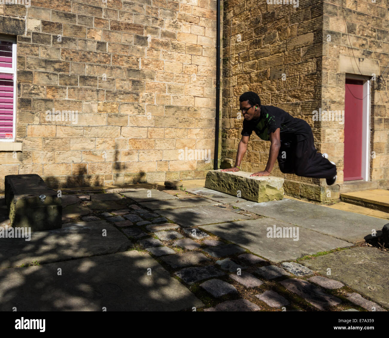 Takeing Off for a Kong Vault (parkour) - Stock Image