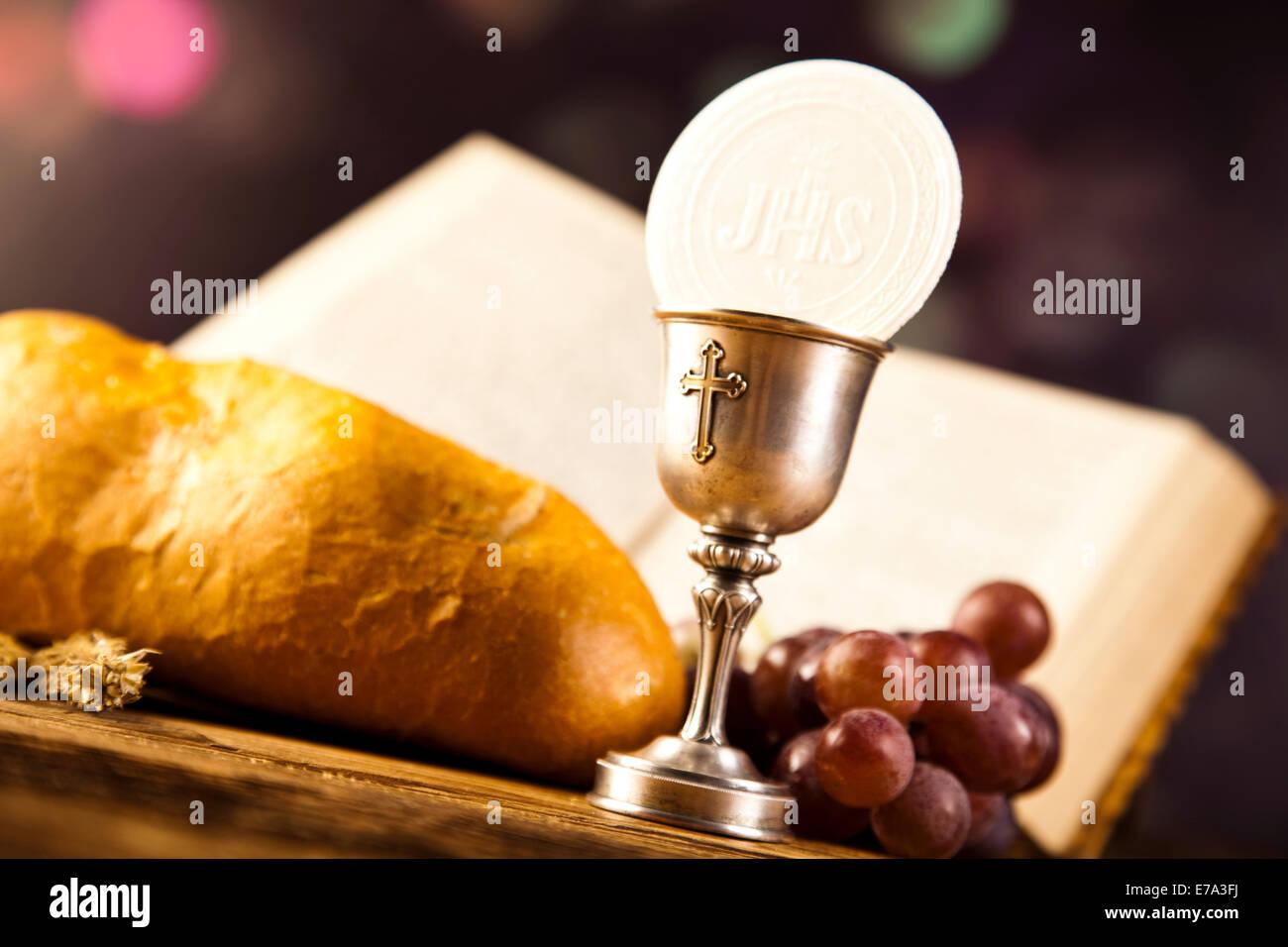 Holy Communion Bread Wine Stock Photo 73366374 Alamy