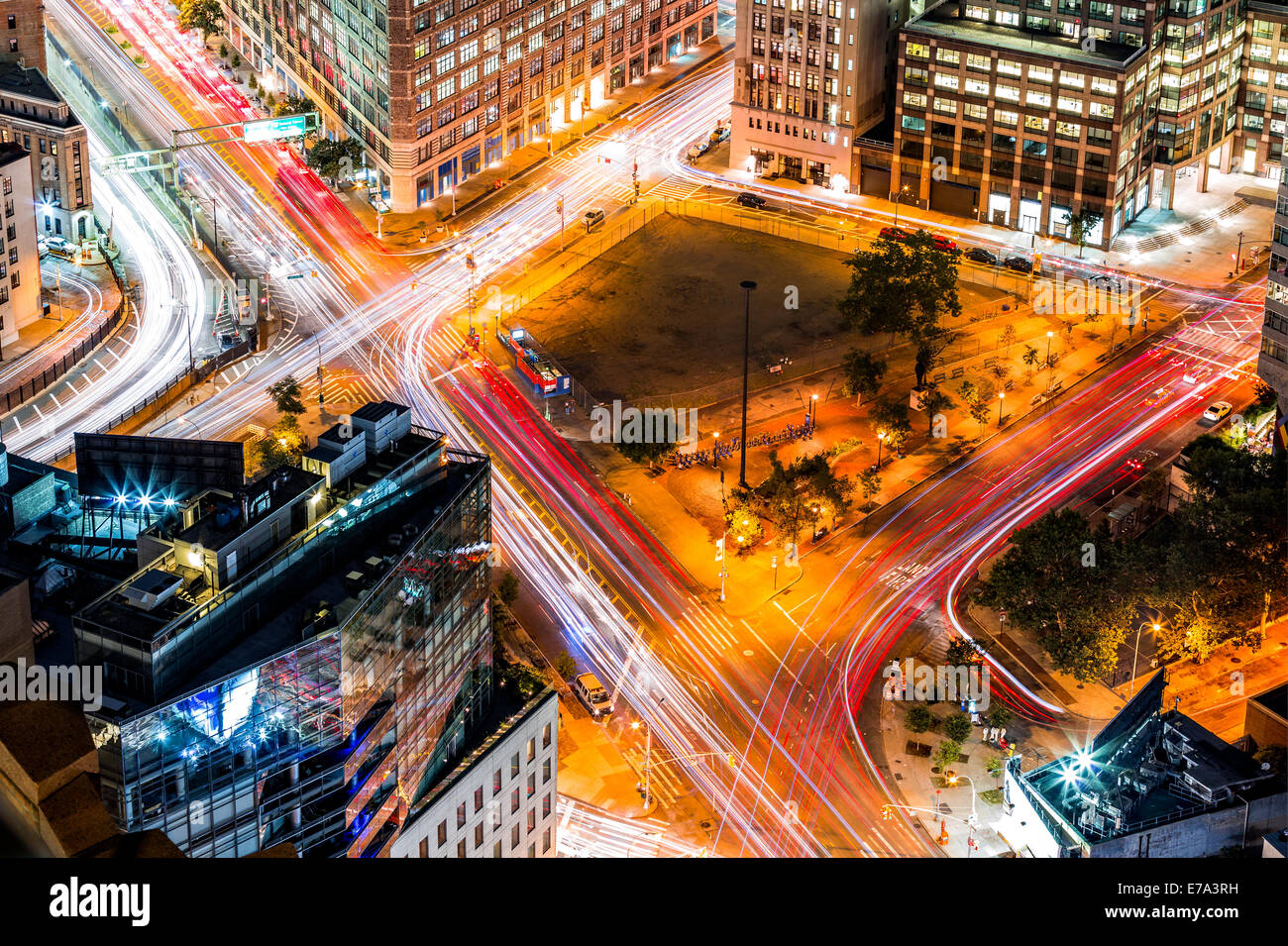 Top view in New York with traffic trails on Canal Street and Avenue of Americas - Stock Image