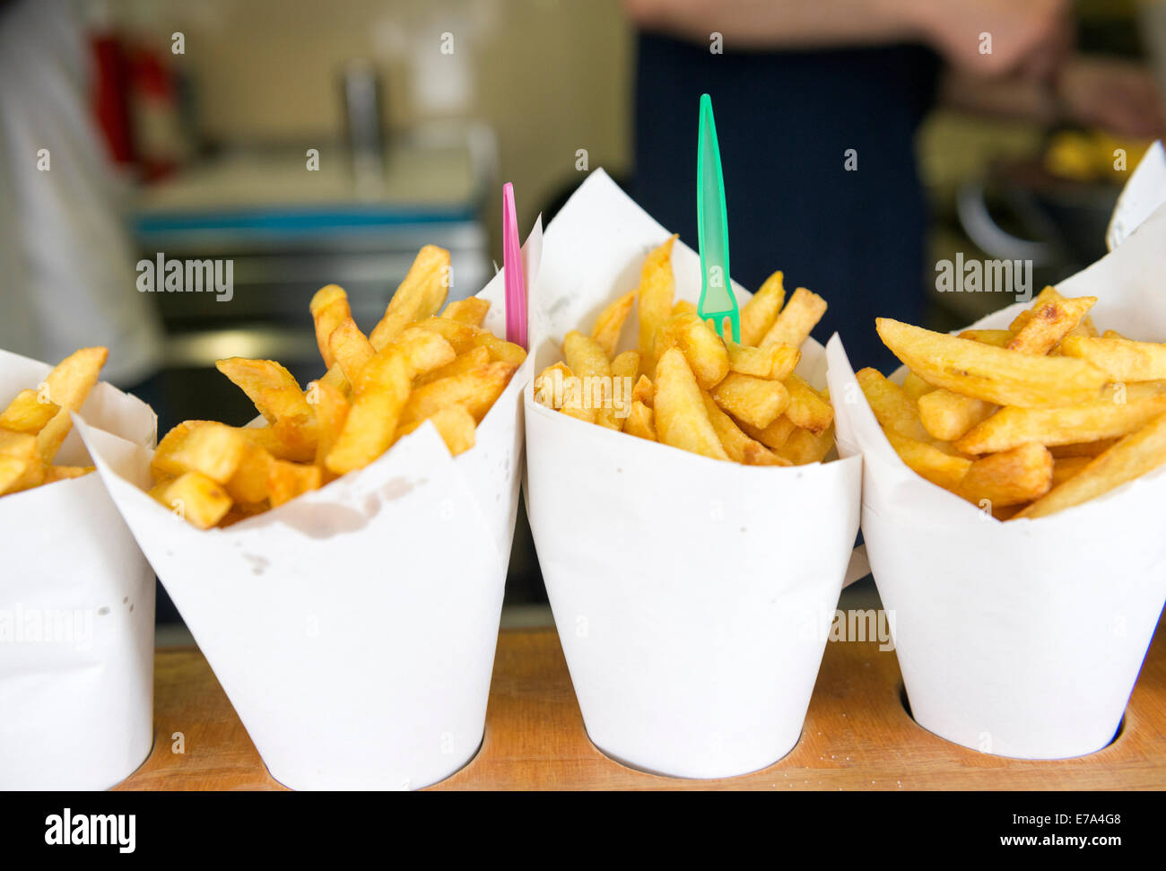 Belgian Frites in Brussels. - Stock Image