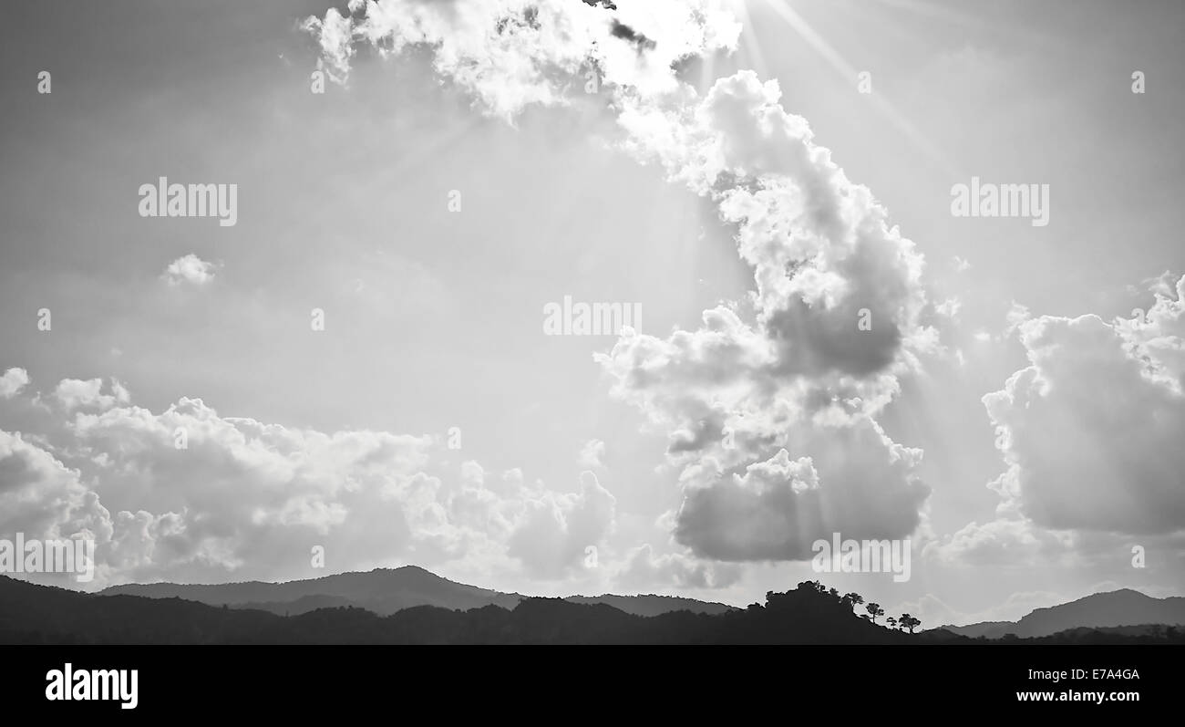 The Cloudy Sky in Black and White - Stock Image