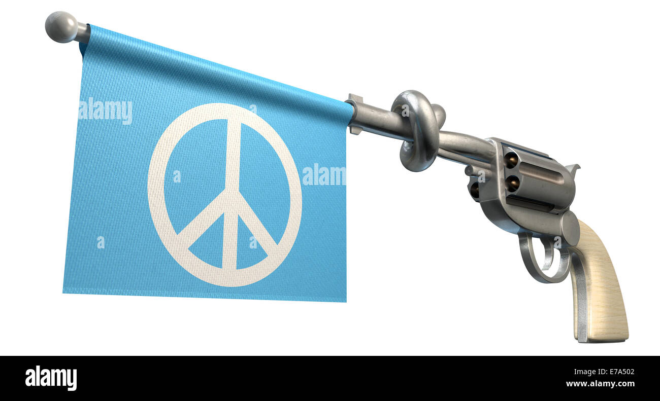 A six shooter gun with a knotted barrel with a blue flag coming out with a peace symbol on it on an isolated white - Stock Image