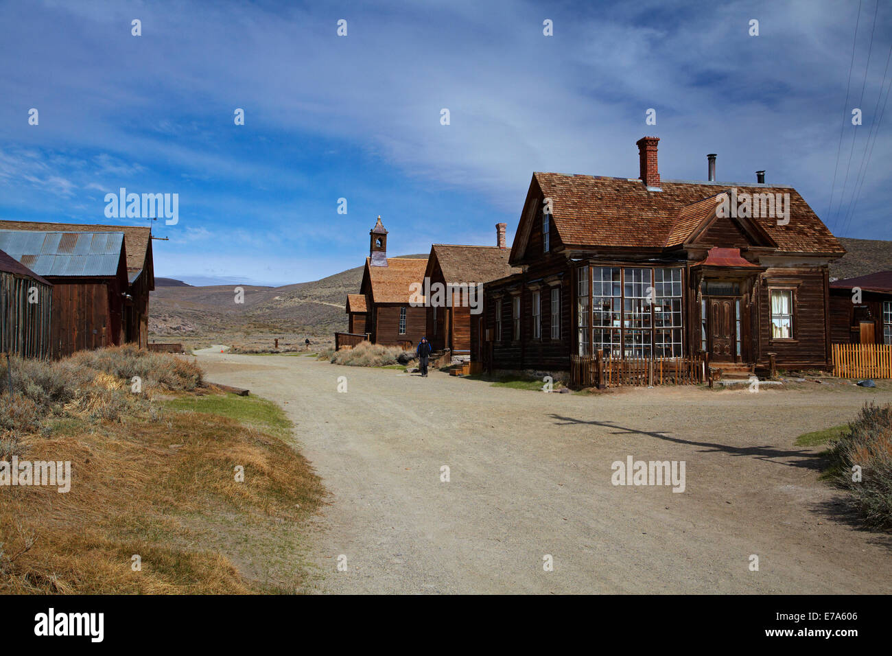 Tourist on Green Street, Bodie Ghost Town ( elevation 8379 ft / 2554 m ), Bodie Hills, Mono County, Eastern Sierra, - Stock Image