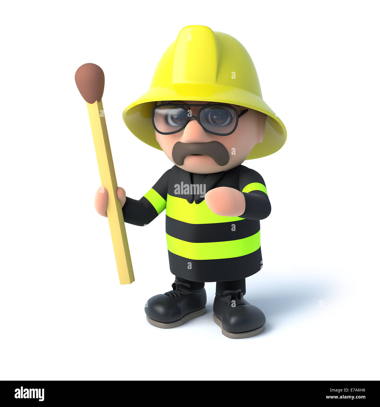 3d render of a firefighter holding an unlit match - Stock Image