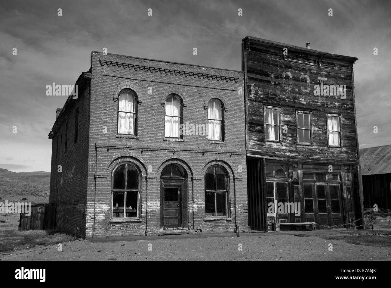 Bodie Post Office and IOOF Hall, Bodie Ghost Town ( elevation 8379 ft / 2554 m ), Bodie Hills, Mono County, Eastern - Stock Image