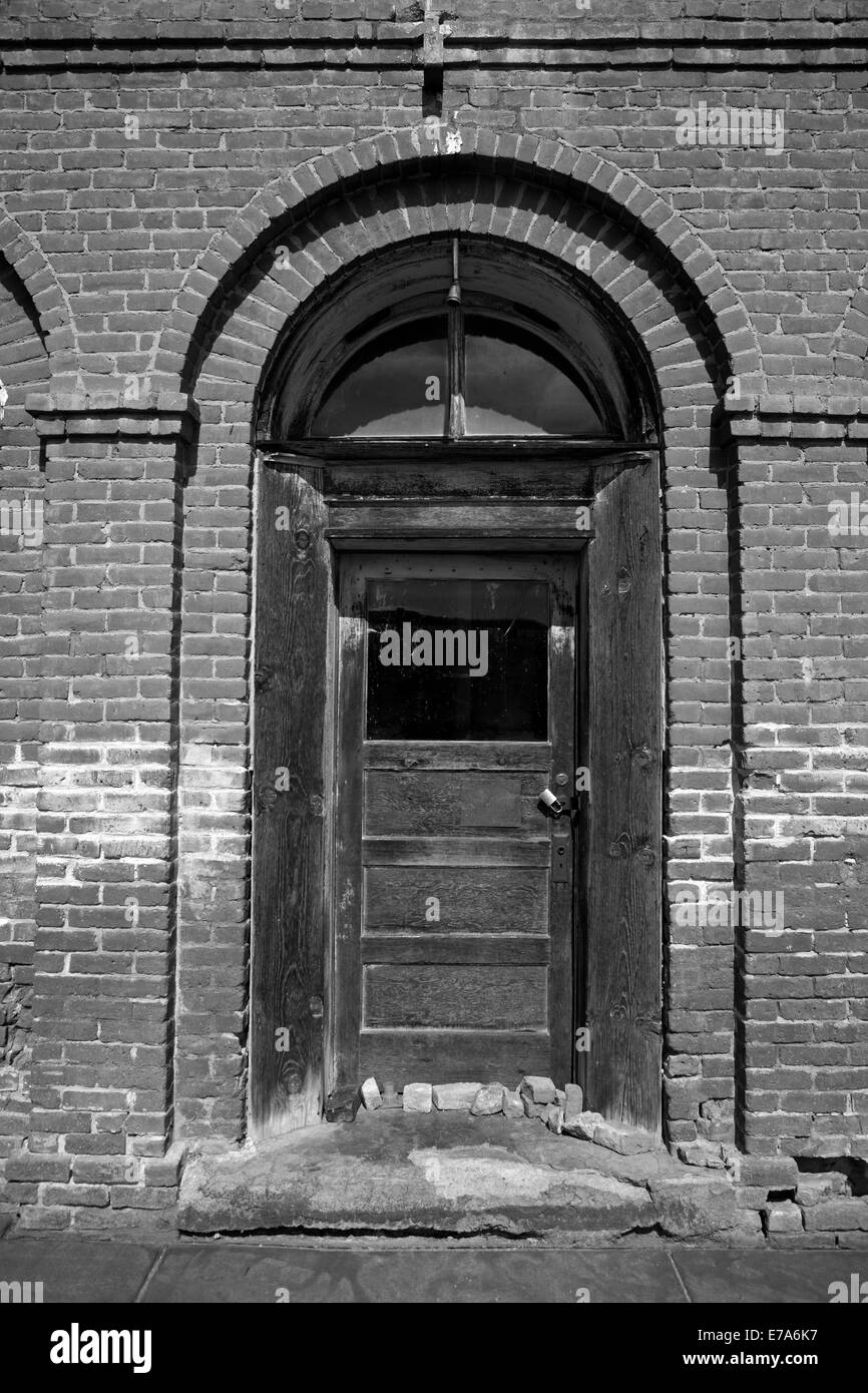 Front door of Bodie Post Office, Bodie Ghost Town ( elevation 8379 ft / 2554 m ), Bodie Hills, Mono County, Eastern - Stock Image