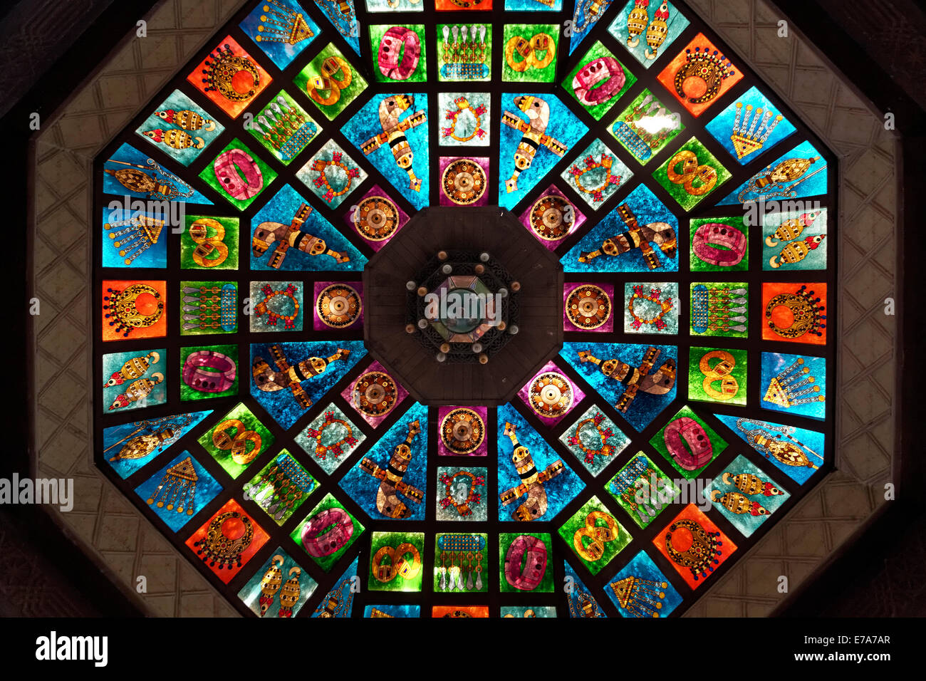 Glass dome, ornate stained glass skylight in the Muttrah Souq market, Muttrah, Muscat, Oman - Stock Image
