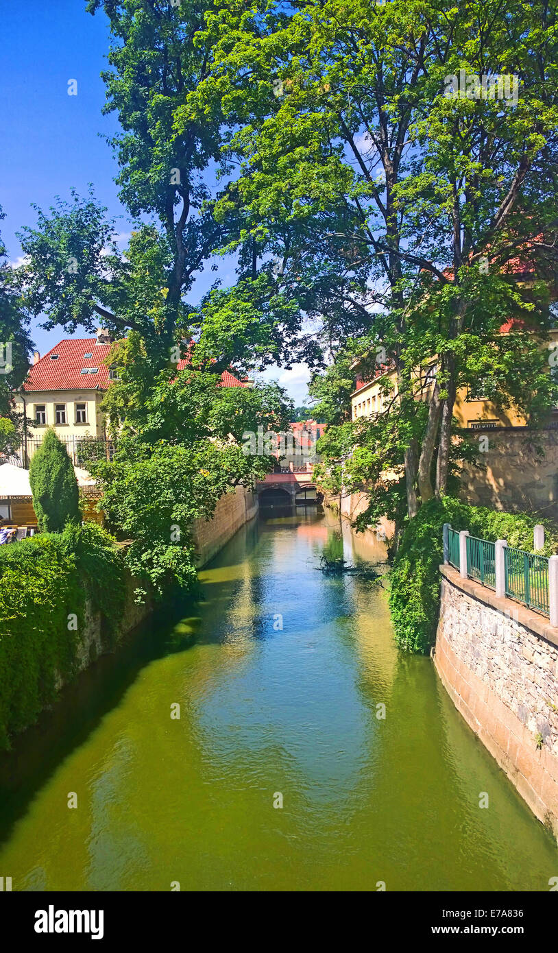 Prague, idyllic view of a small channel of the Moldau river,dividing Kampa island from the center of the city. - Stock Image