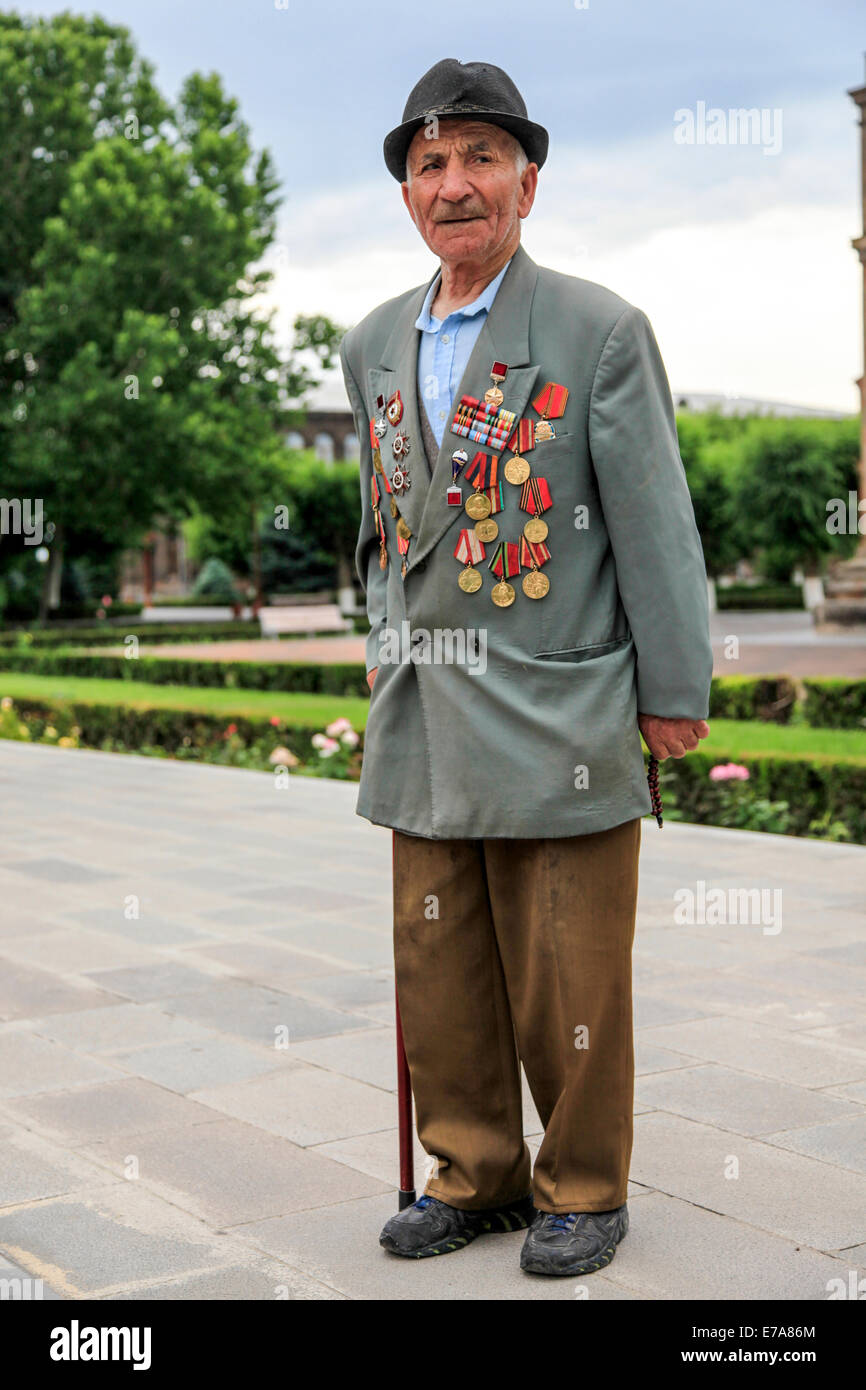 Old man with military medals. Etchmiadzin, Armavir, Armenia - Stock Image