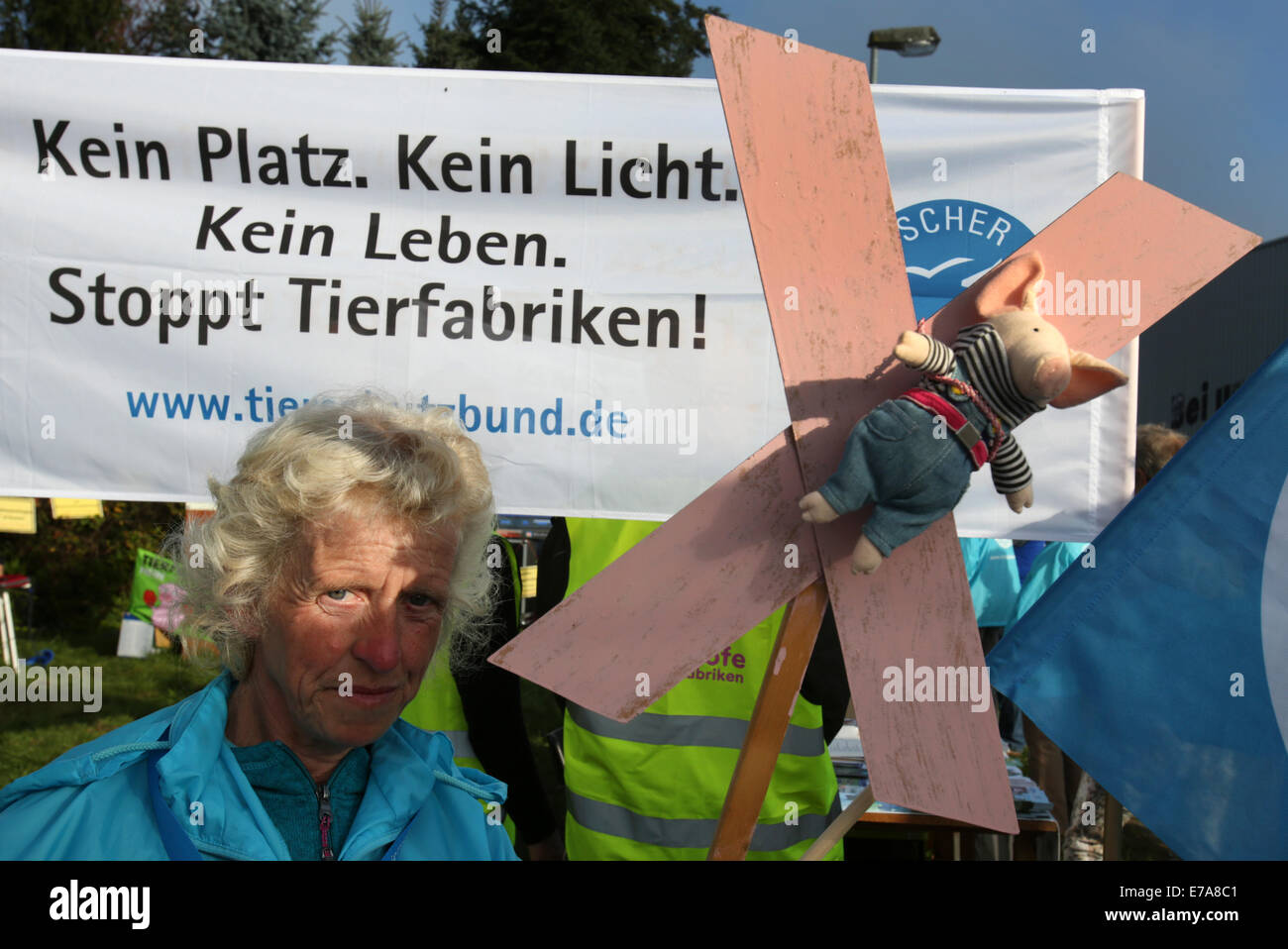 Muehlengeez, Germany. 11th Sep, 2014. Animal rights activists protest against industrial farming before the start - Stock Image