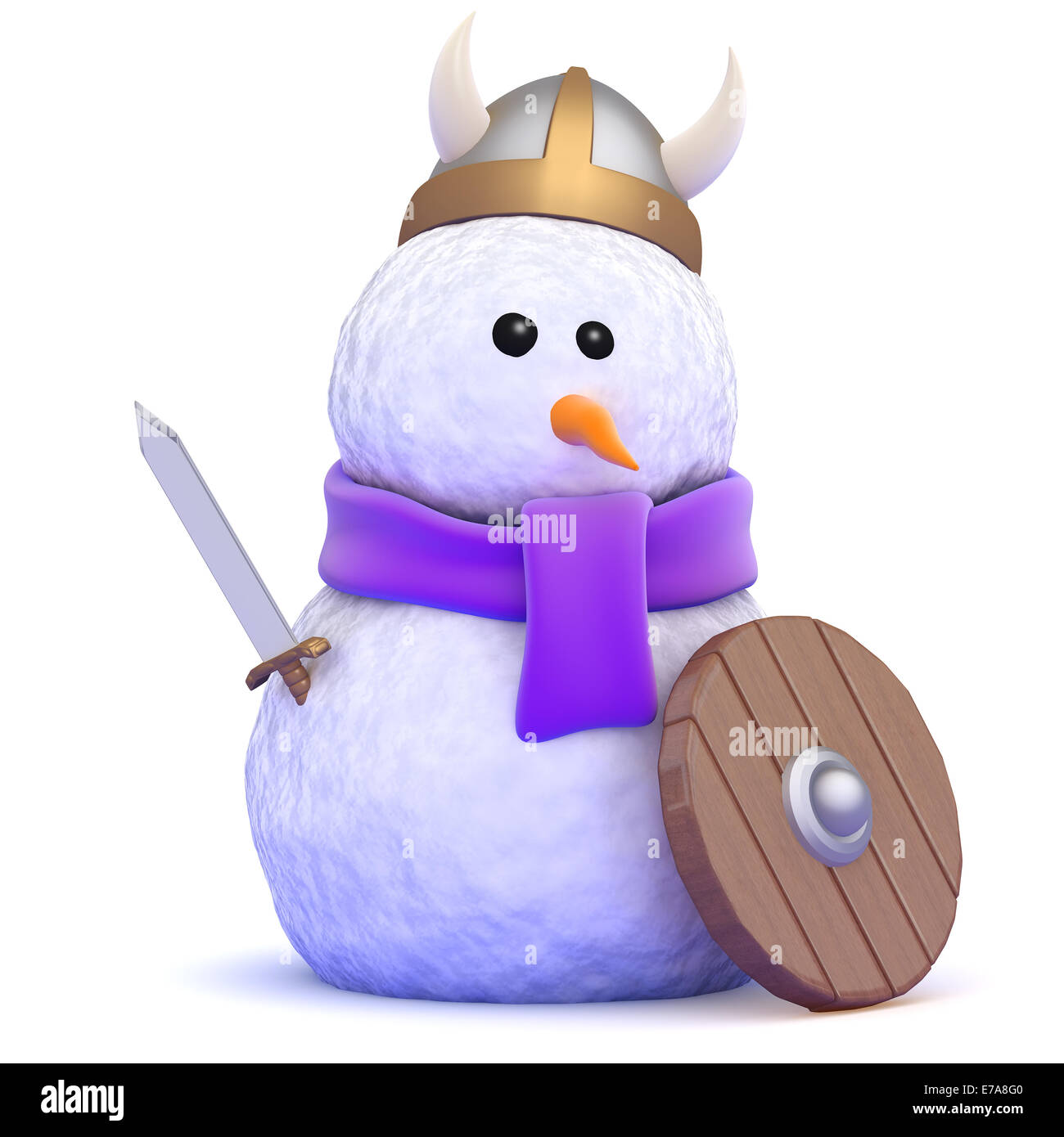 3d render of a snowman dressed as a mighty viking warrior - Stock Image