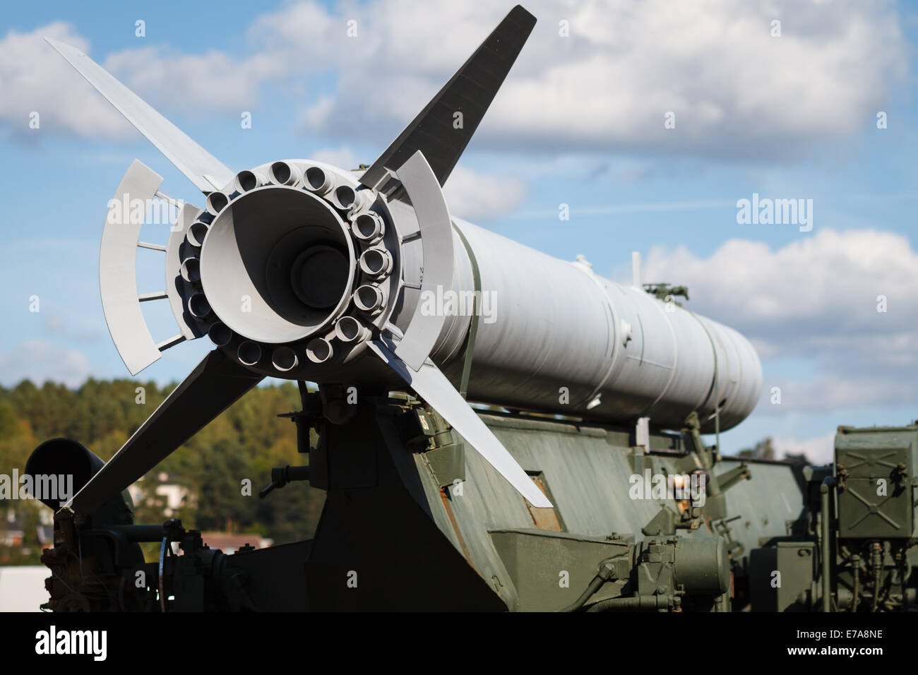 War rocket on an armored military truck. - Stock Image