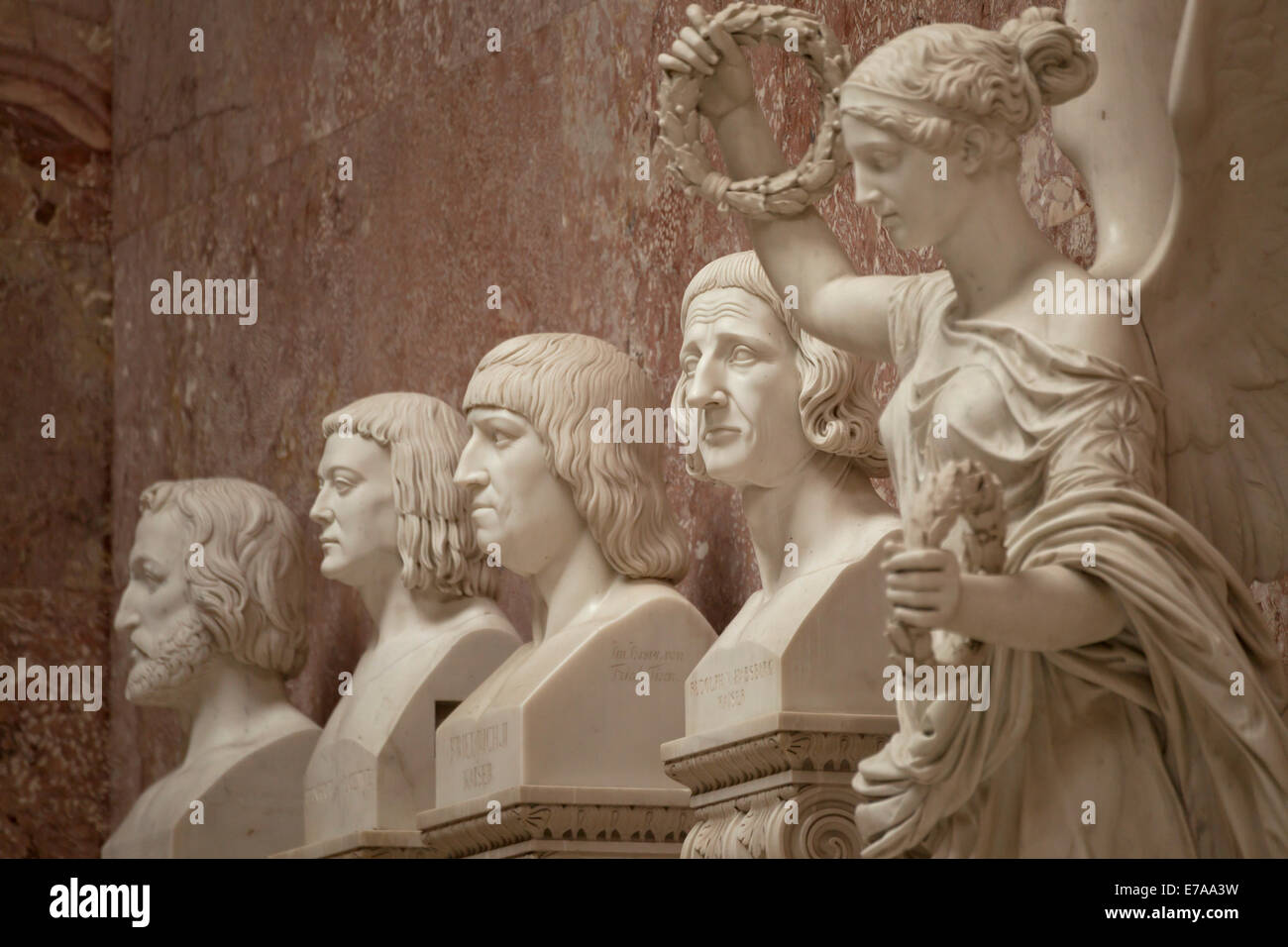 Marble busts inside the Walhalla memorial above the Danube River, east of Regensburg, Bavaria, Germany, Europe - Stock Image