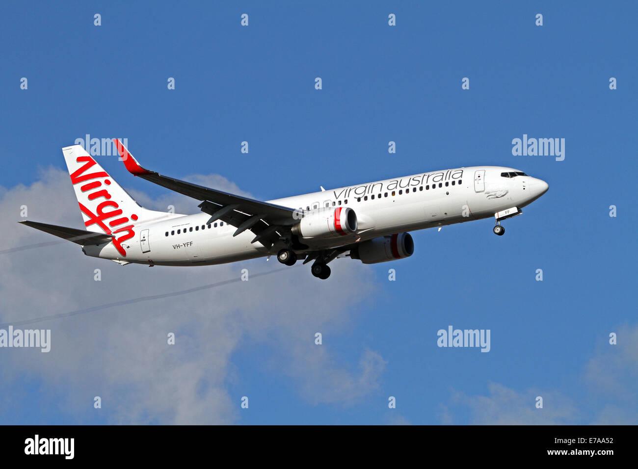 Virgin Australia aircraft preparing to land at Adelaide Airport Australia - Stock Image