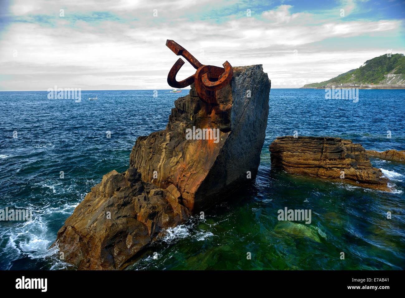 Peine del Viento XV, Donostia, San Sebastian, Guipuzkoa, Basque Country, Euskadi, Spain, Europe, Eduardo Chillida - Stock Image