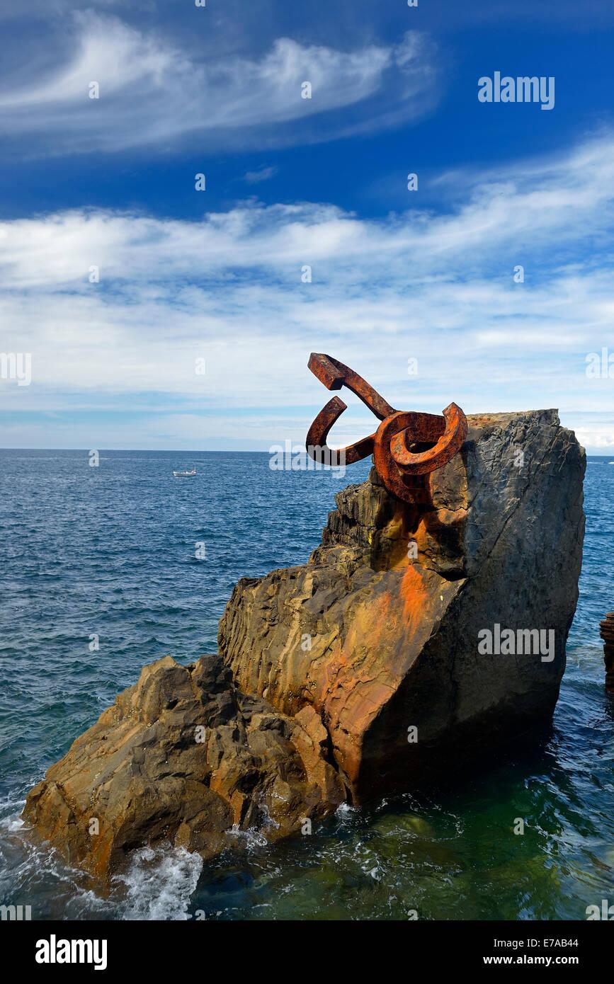 Peine del Viento XV by Eduardo Chillida, Donostia, San Sebastian, Guipuzkoa, Basque Country, Euskadi, Spain, Europe - Stock Image