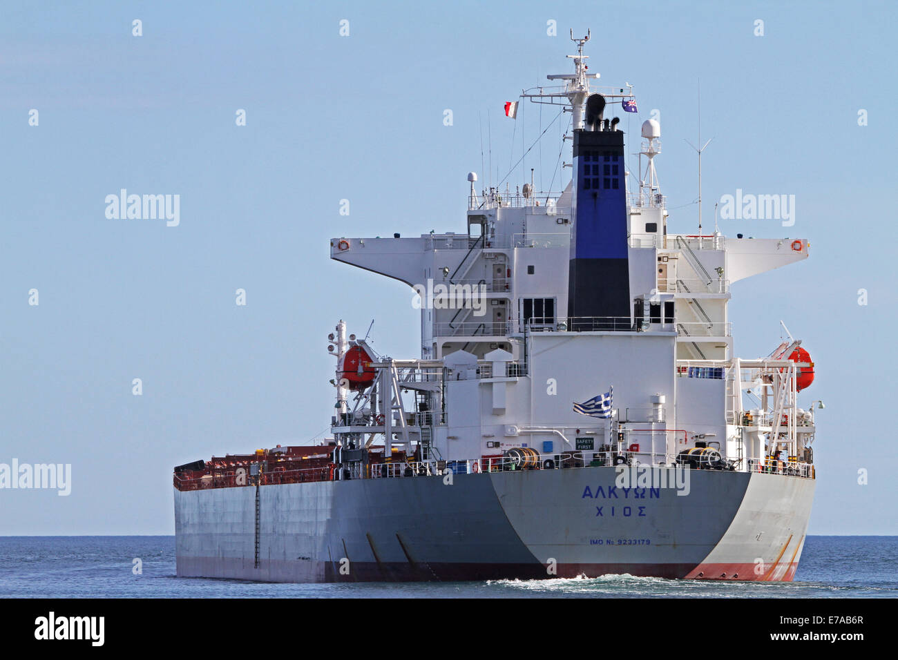 The bulk carrier Alkyon departing Adelaide Australia - Stock Image