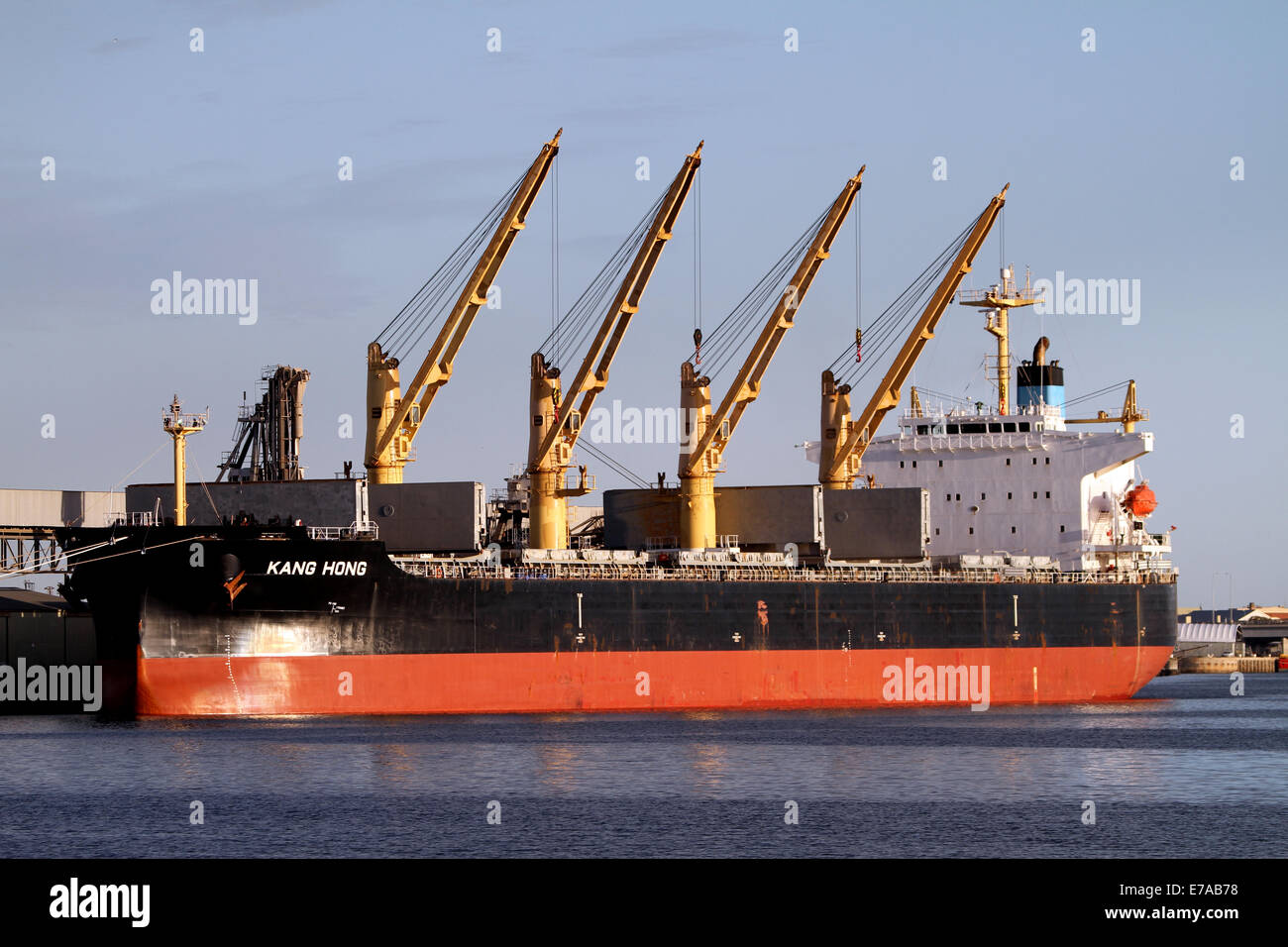 The bulk carrier Kang Hong moored in Adelaide Australia - Stock Image