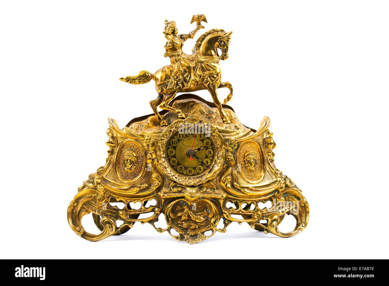 Old golden clock - Stock Image