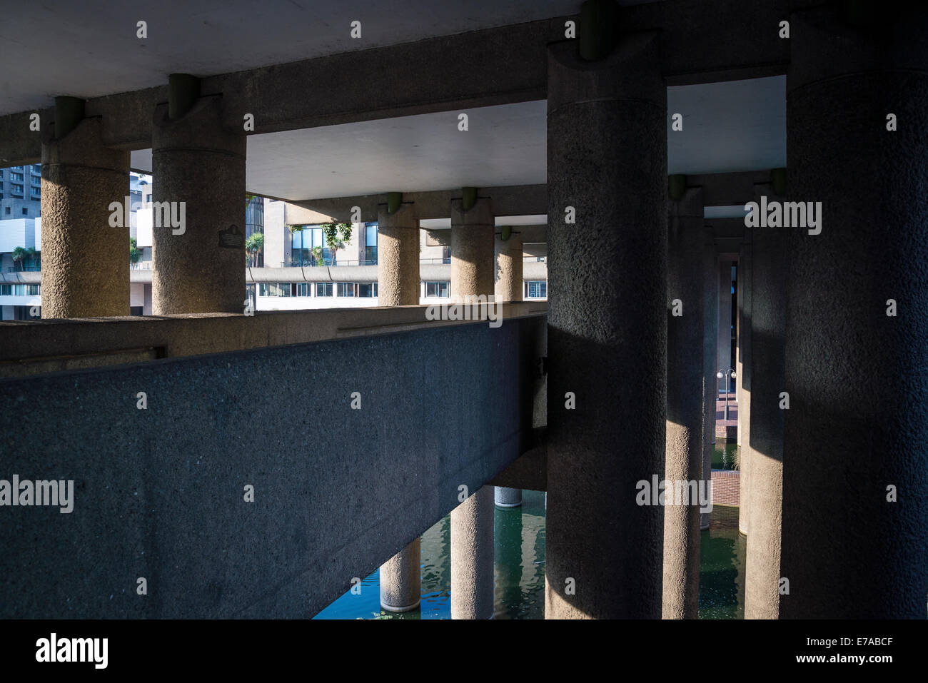 Passageway, Barbican residential estate, City of London, UK - Stock Image