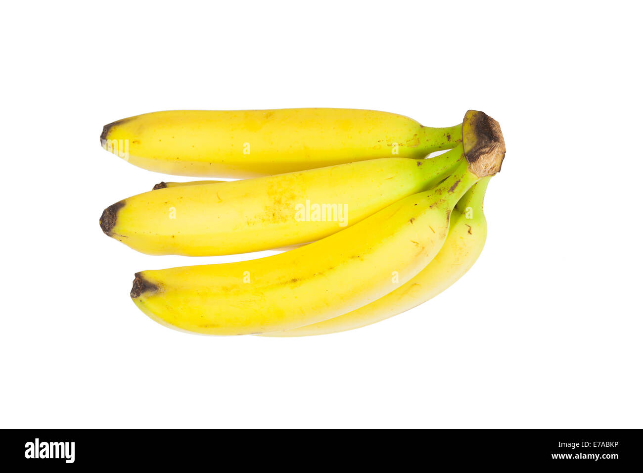 Bunch of bananas on a white background - Stock Image