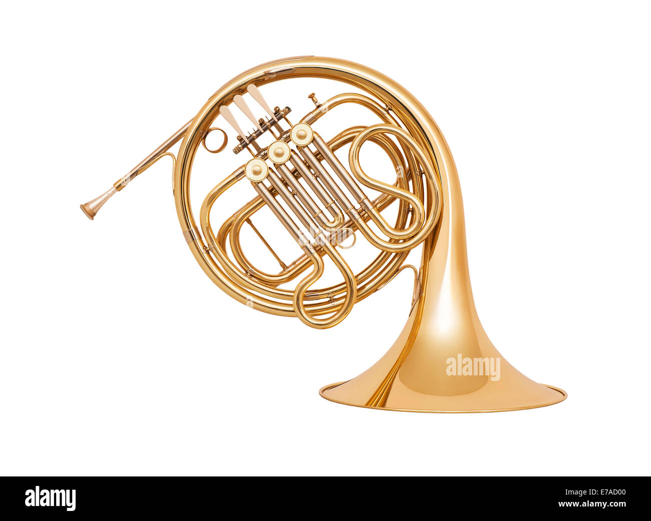 Golden french horn in soft light isolated on white background - Stock Image