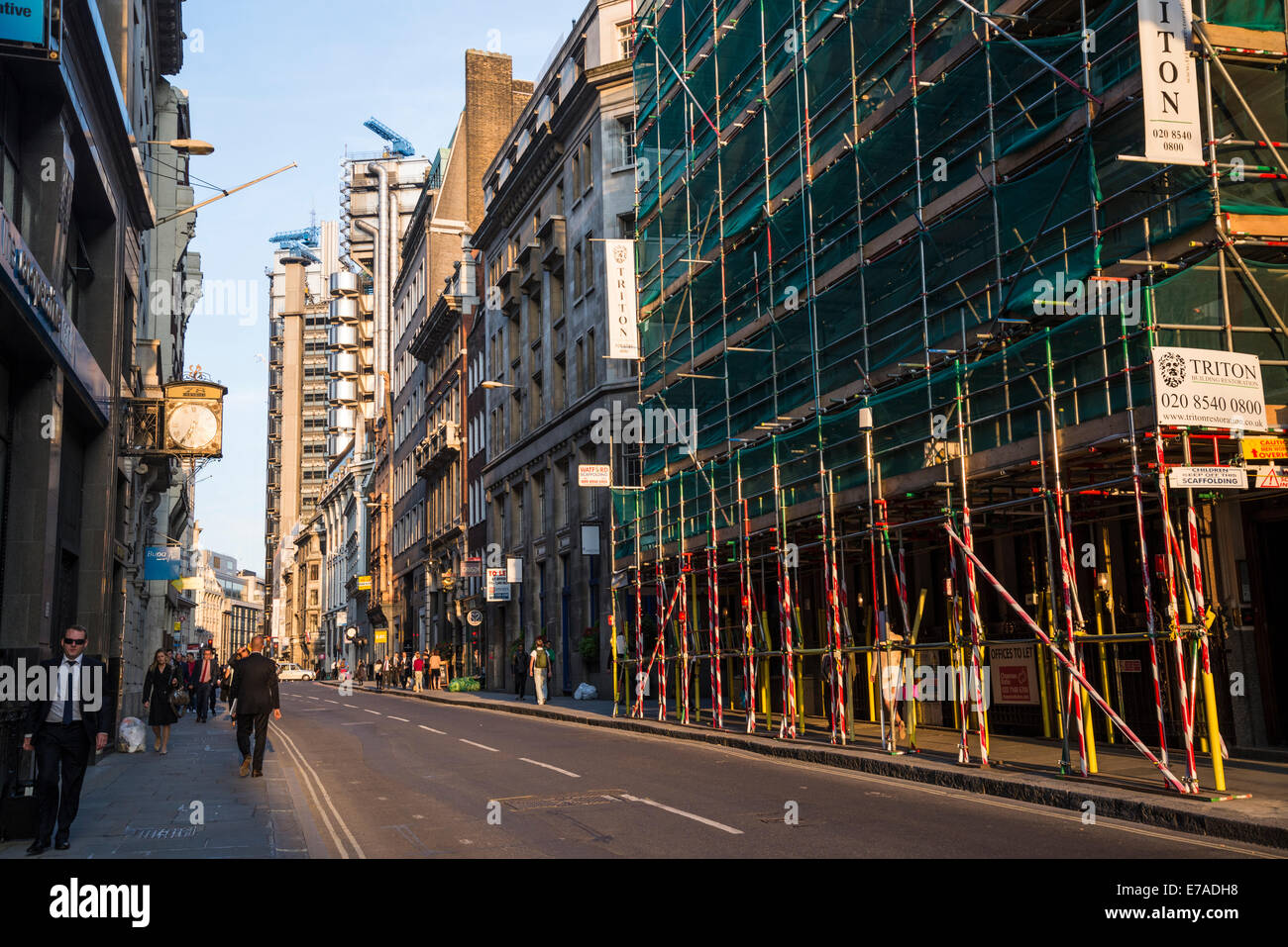 Building work in Cornhill street, Square Mile, City of London, UK - Stock Image