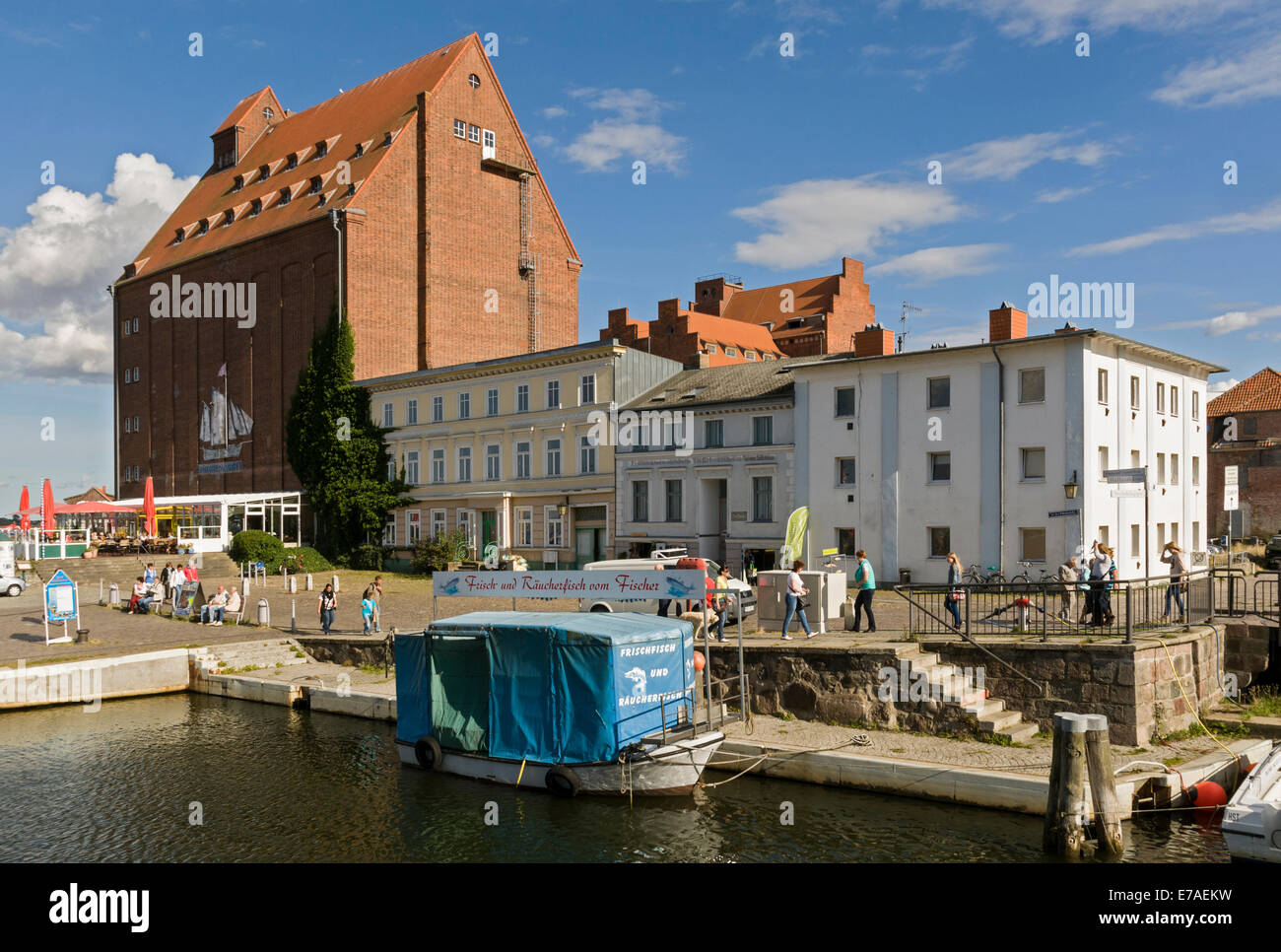 Stralsund Harbour with old warehouses, Mecklenburg Western Pomerania, Germany Stock Photo