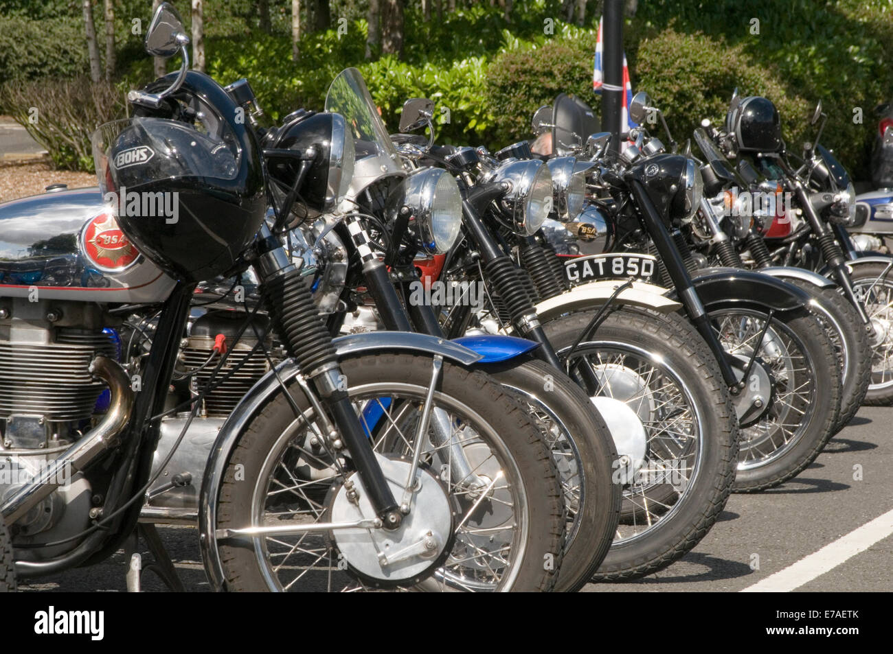 old British motorbikes classic motorcycles brands brand motor bikes cycles bike cycle spokes spoked wheels wheel - Stock Image
