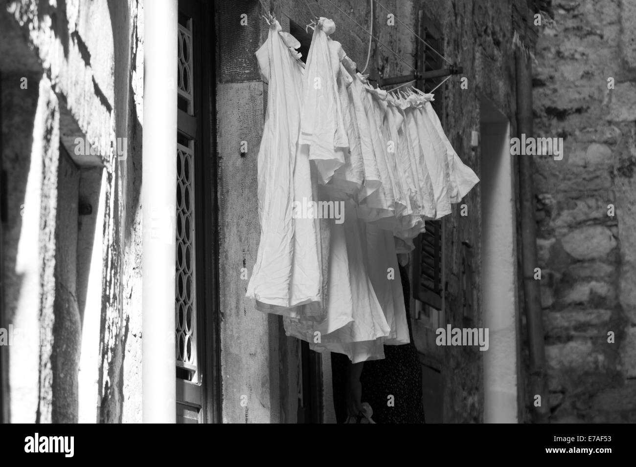 Black and white of laundry hanging Stock Photo