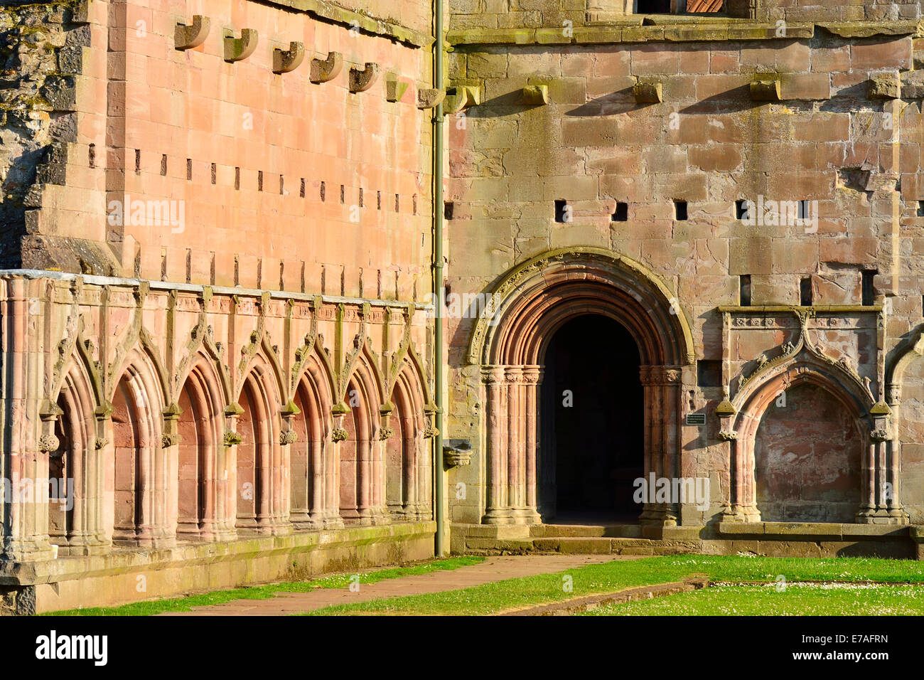 Ruins of the Cistercian monastery of Melrose Abbey, 12th century, Melrose, Scottish Borders, Scotland, United Kingdom - Stock Image
