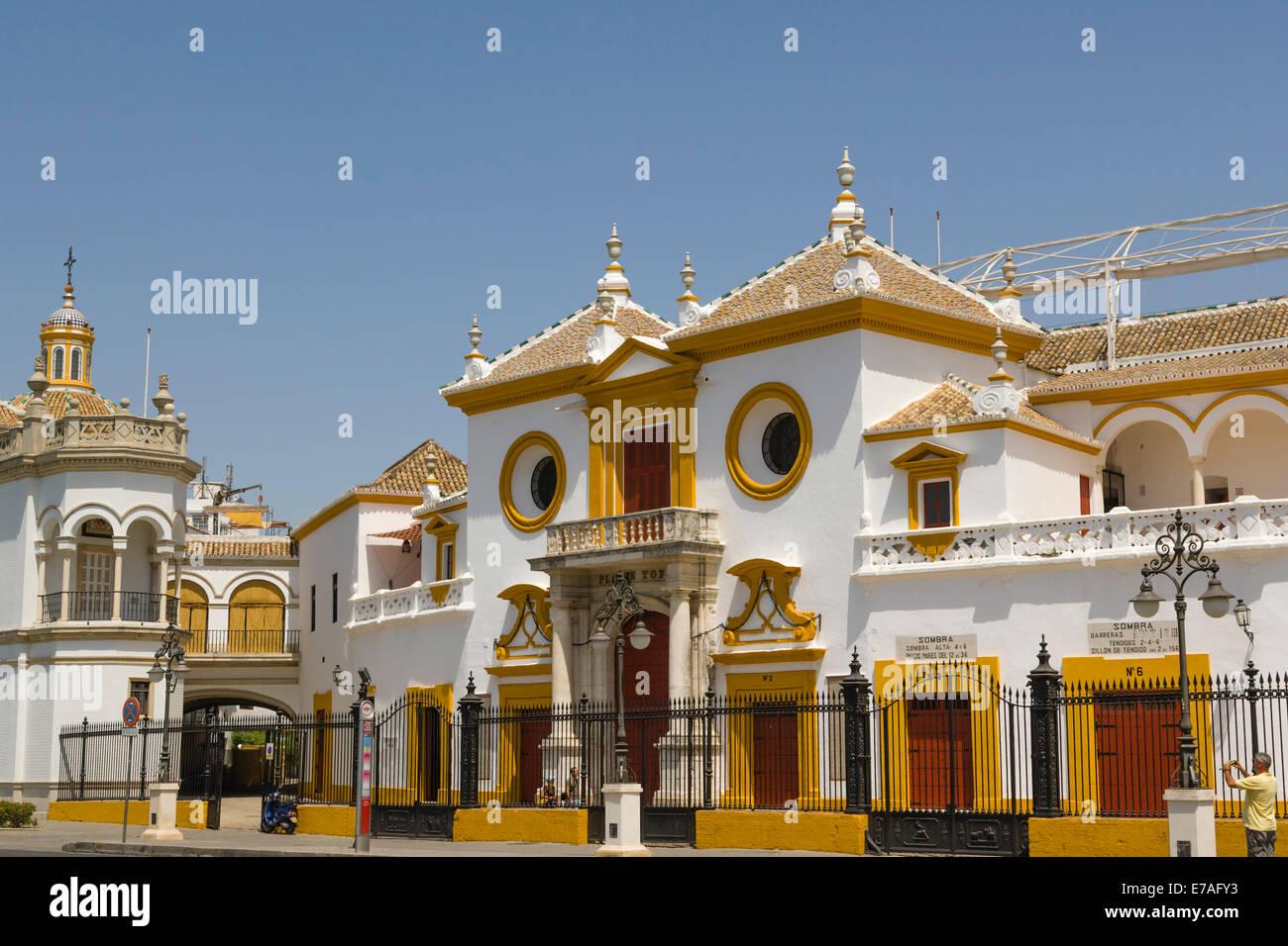 Plaza de Toros de la Real Maestranza de Caballeria de Sevilla, bullfighting ring, Paseo de Cristobal Colon, El Arenal, - Stock Image