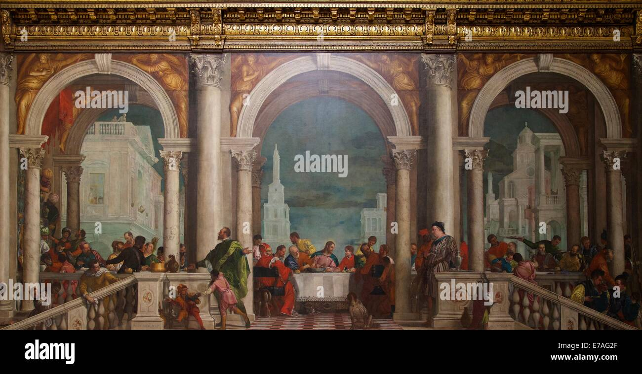 Feast in Levi's house, Paolo Veronese, 1573, Galleria dell'Accademia,  Venice, Italy, Europe - Stock Image