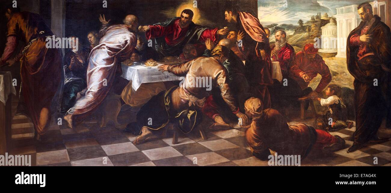 Last Supper, by Jacopo Tintoretto, 1568–69, Church of San Polo, Venice, Italy, Europe - Stock Image