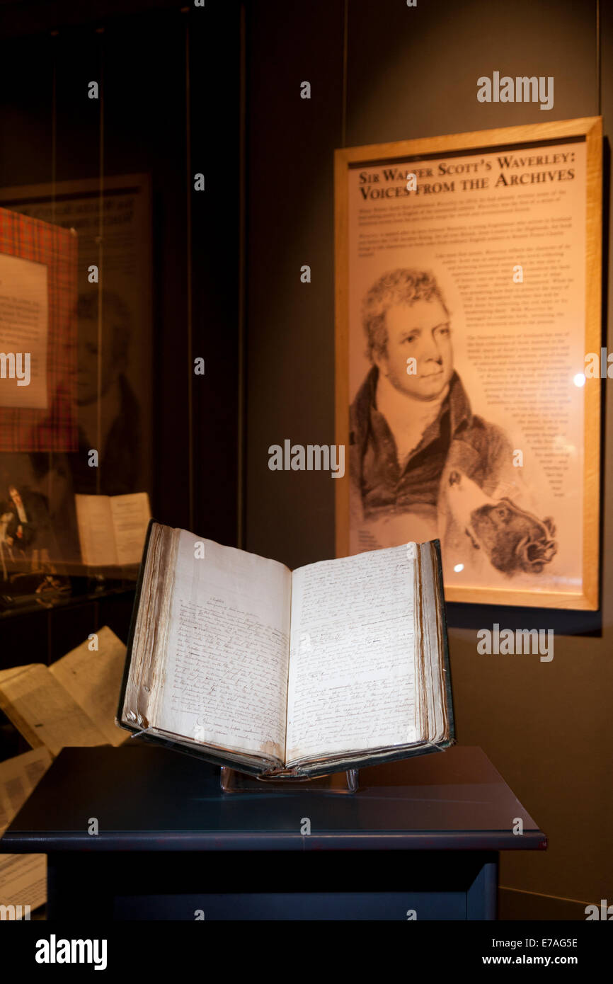 Edinburgh, Scotland. 10th September, 2014. The original manuscript of Sir Walter Scott's 'Waverley' - Stock Image