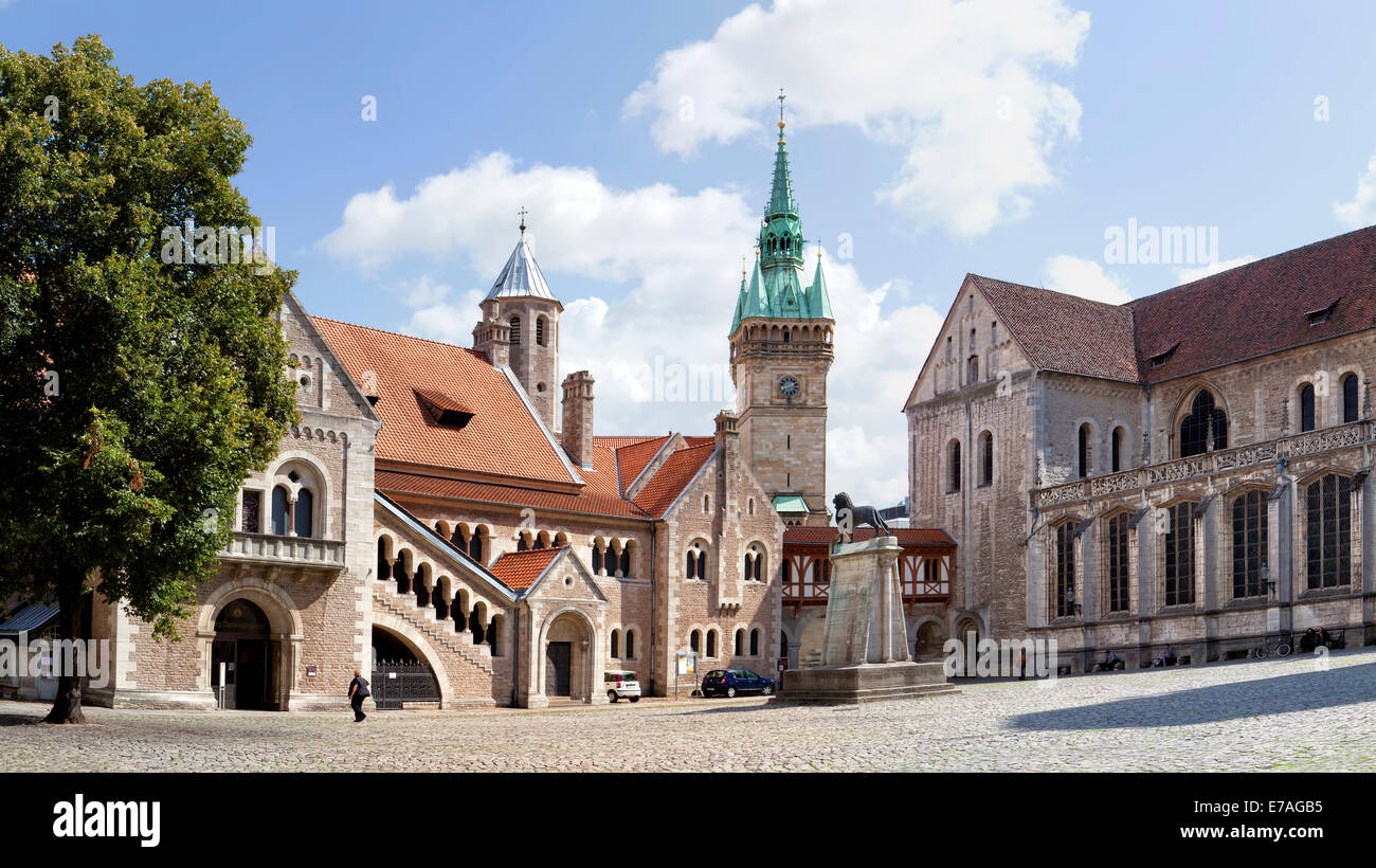 Dankwarderode castle and Brunswick Cathedral, St. Blasii, Braunschweig, Brunswick, Lower Saxony, Germany, Europe, - Stock Image