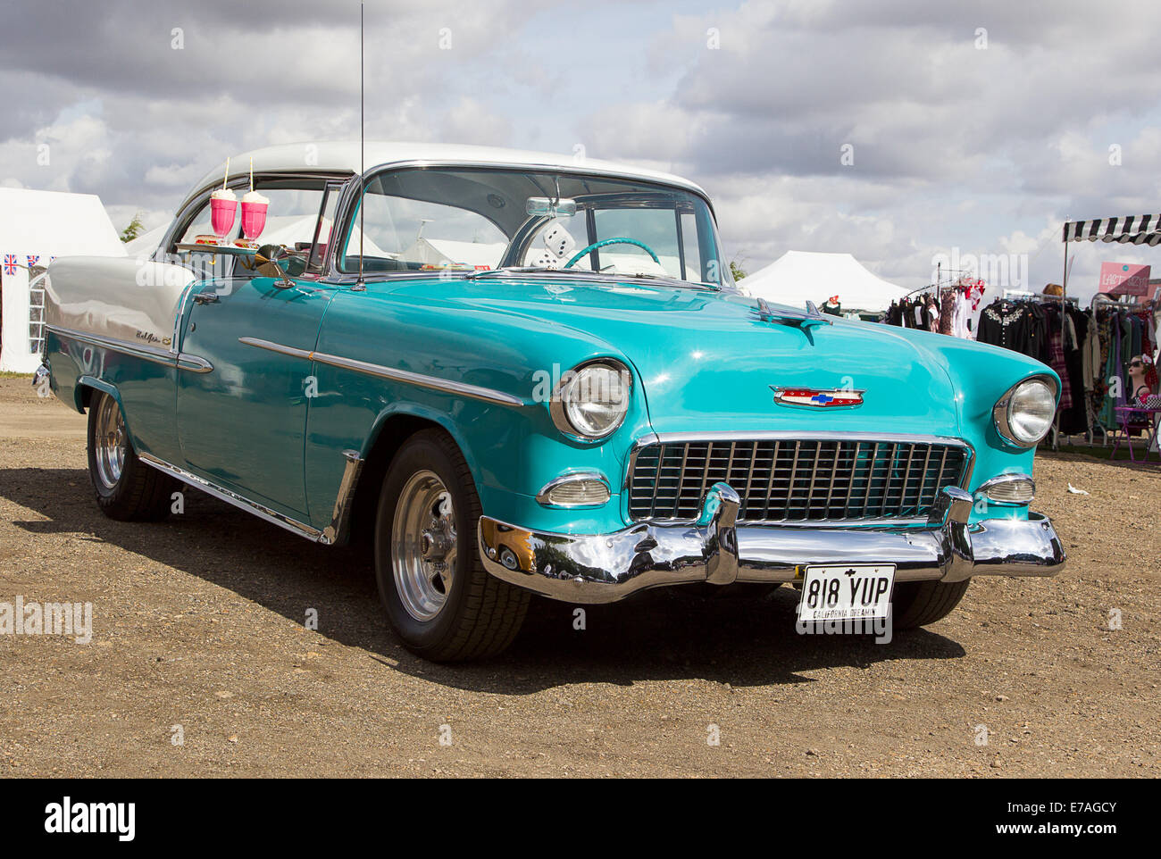 1955 Chevrolet Bel Air 2 Door Hardtop Sedan In Two Tone Turquoise U0026 White  With Hood Bird Aka U0027The Hot Oneu0027