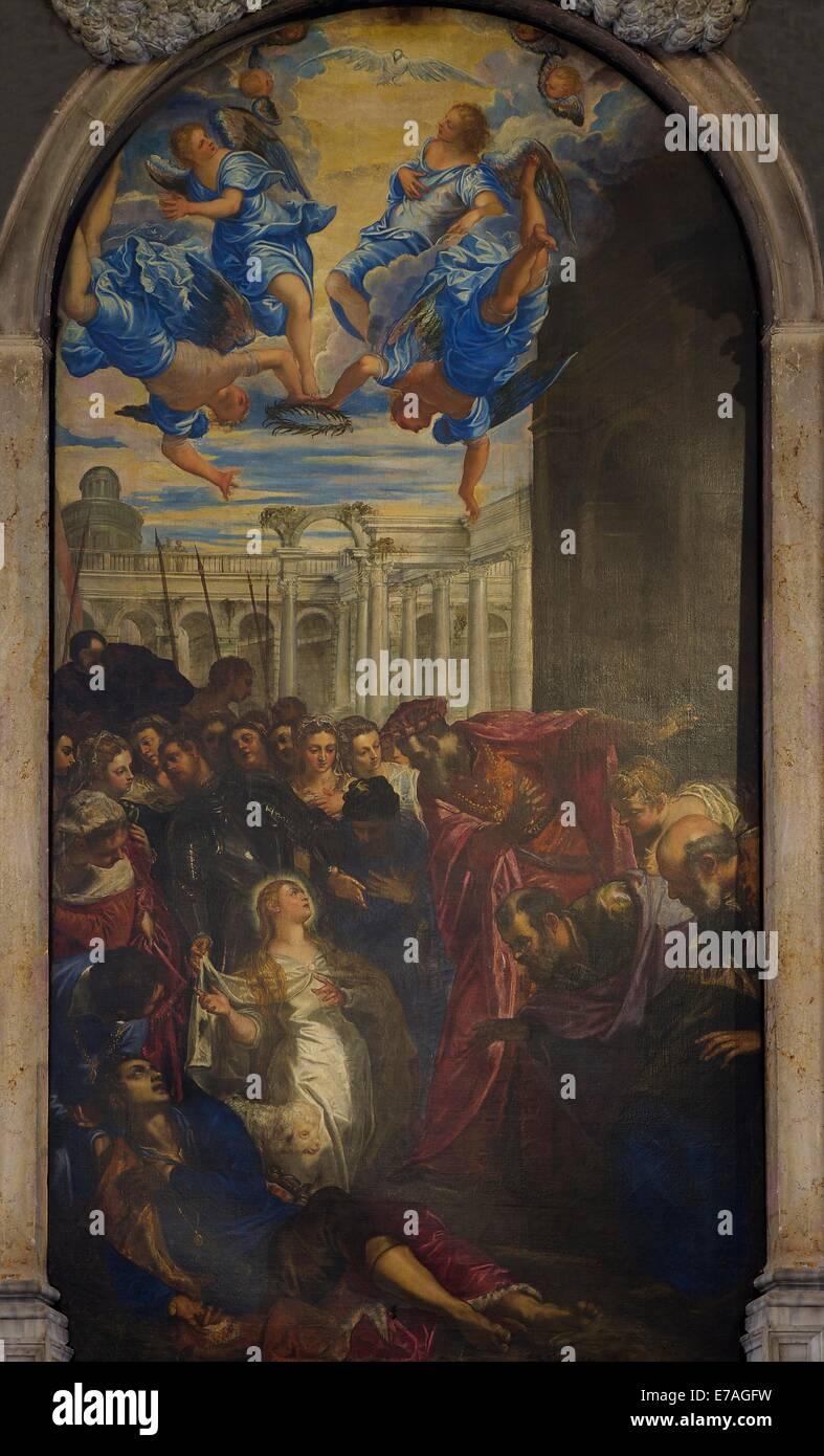 The Miracle of St Agnes, by Jacopo Tintoretto, circa 1577, Church of Madonna dell'Orto, Cannaregio, Venice, - Stock Image