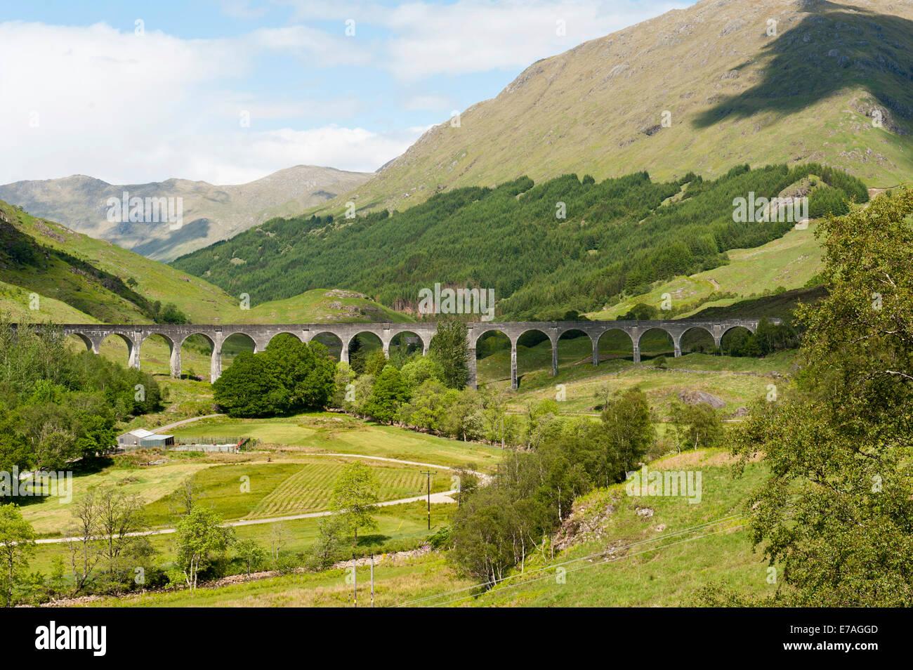 Bridge of the West Highland Line railway line, Glenfinnan Viaduct, Glenfinnan, Highlands, Scotland, United Kingdom - Stock Image