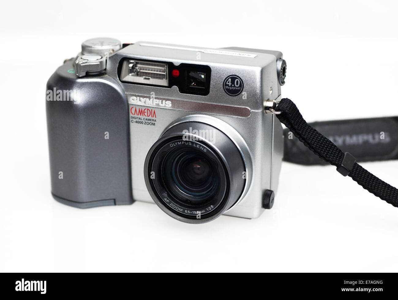 Olympus Camedia Digital Camera C-4000 Zoom 4.0 Megapixel Point and Shoot Camera on white background - Stock Image