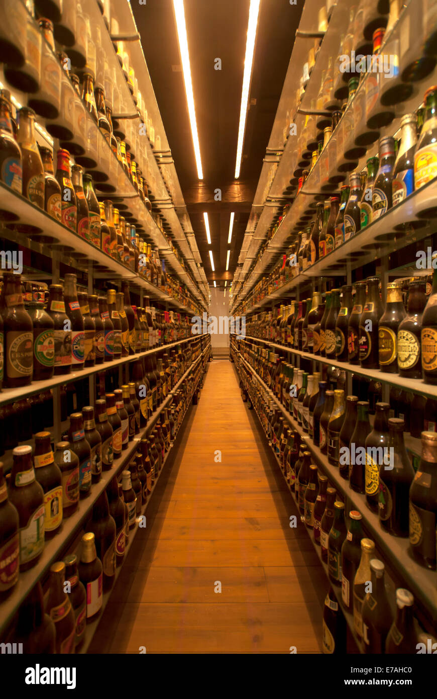 World's largest beer bottle collection at Carlsberg museum brewery. - Stock Image